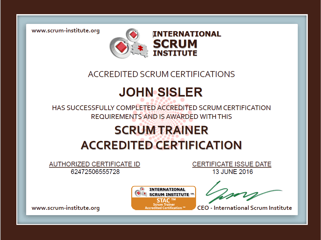 Agile Scrum Trainer Certification