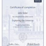 Exploring the Universe Certificate of completion
